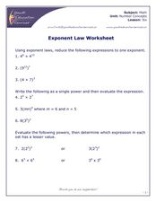 Exponent Law Worksheet