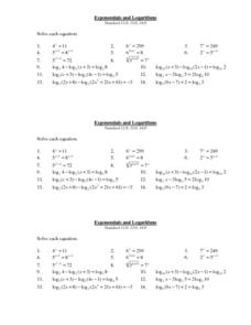 Exponential and Logarithms Worksheet