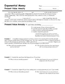 Exponential Money: Present Value Annuity Worksheet