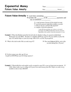 Exponential Money Worksheet