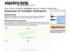 Exponents of Variables Worksheet Worksheet
