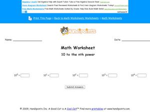 Exponents: Ten to the nth Power Worksheet