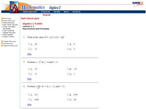 Expressions and Formulas Worksheet