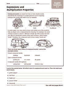 Expressions and Multiplication Process: ELL Worksheet
