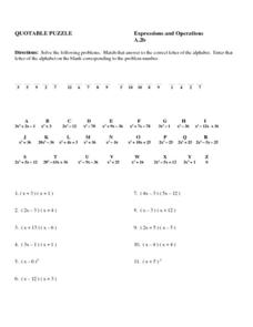 Expressions and Operations Worksheet