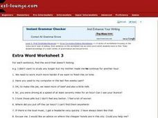 Extra Word Worksheet 3 Worksheet