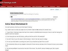 Extra Word Worksheet 8 Worksheet