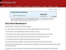 Extra Word Worksheet 9 Worksheet