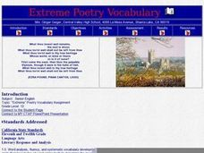 Extreme Poetry Vocabulary Lesson Plan
