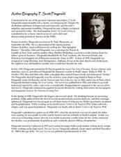 F. Scott Fitzgerald Author Biography Lesson Plan