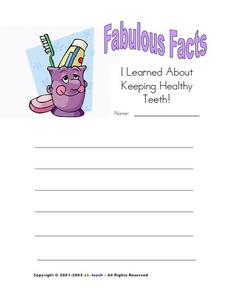 Fabulous Facts I Learned About Keeping Healthy Teeth! Worksheet