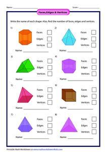 Worksheets Faces Edges And Vertices Worksheet faces edges vertices 1st 2nd grade worksheet lesson planet worksheet