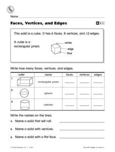 Faces, Vertices and Edges Worksheet