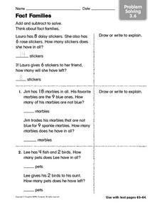 Fact Families: Problem Solving Worksheet