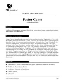 Factor Game (Number Theory) Lesson Plan