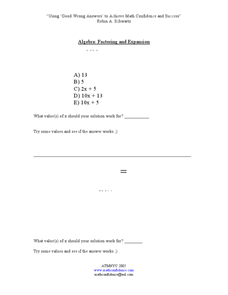 Factoring and Dividing By Zero Investigation Worksheet