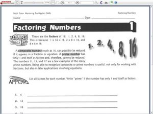 Factoring Numbers Worksheet