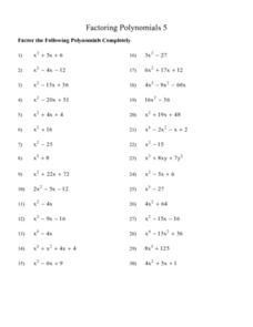Factoring Polynomials 5 Lesson Plan