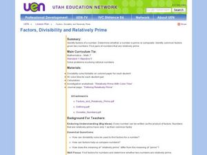 Factors, Divisibility, and Relatively Prime Lesson Plan
