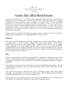 Factors that Affect Blood Pressure Worksheet