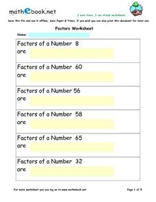 Factors Worksheet Worksheet