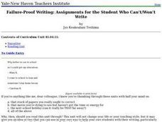 Failure-Proof Writing: Assignments for the Student Who Can't/Won't Write Lesson Plan
