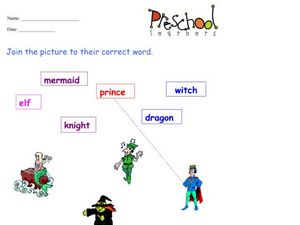 Fairy Tale Words and Pictures Worksheet