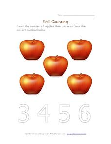 Fall Counting - Apples Worksheet