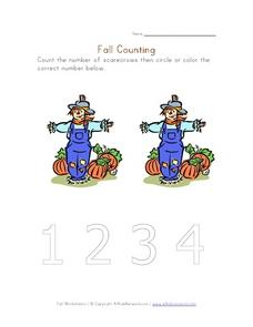 Fall Counting - Scarecrows Worksheet