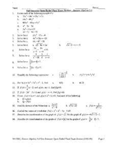 Fall Semester Open-Ended Exam Review: Honors Algebra Worksheet