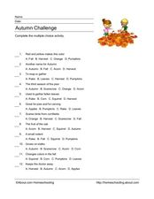 Fall Vocabulary Quiz Worksheet