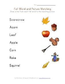 Fall Word and Picture Matching Activity Worksheet