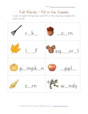 Fall Words - Fill in the Vowels Worksheet