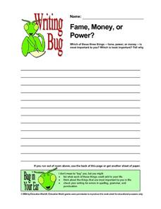 Fame, Money, or Power?: Writing Prompt Worksheet