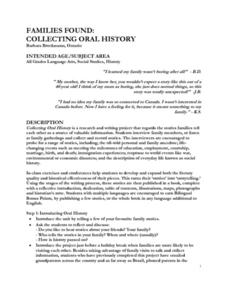 Families Found: Collecting Oral History Lesson Plan