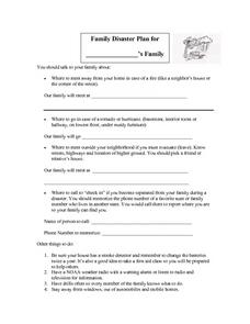 Family Disaster Plan Worksheet