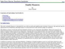 Family Finances Lesson Plan