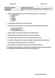 Family Life:  Dimensions of Diversity Worksheet