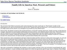 Family Life in America: Past, Present and Future Lesson Plan