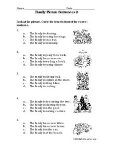 Family Picture Sentences 2 Worksheet