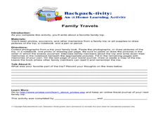 Family Travels- Making Memory Book Worksheet