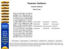 Famous Outlaws Worksheet