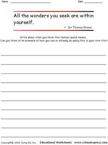 Famous Sir Thomas Brown Quote Worksheet