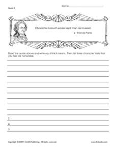Famous Thomas Paine Quote Worksheet