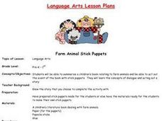 Farm Animal Stick Puppets Lesson Plan