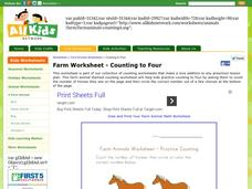 Farm Animals Worksheet: Counting Practice Worksheet