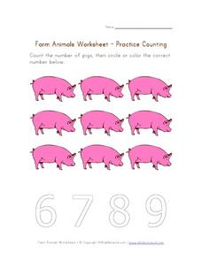 Farm Animals Worksheet - Practice Counting Worksheet