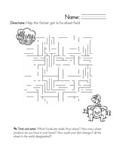 Farmer Maze Worksheet