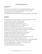 Fascinating Geography Facts Worksheet