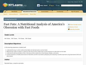 Fast Fats: A Nutritional Analysis of America's Obsession with Fast Foods Lesson Plan